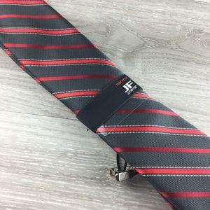 JF J. Ferrar Narrow Black and Red Striped Tie